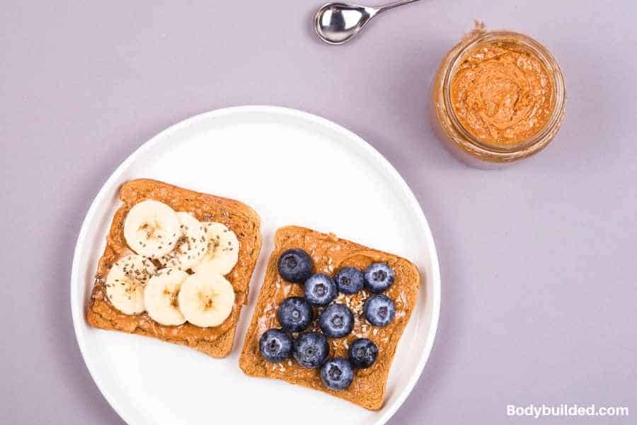 Peanut butter and banana toast lowe carb lunch idea
