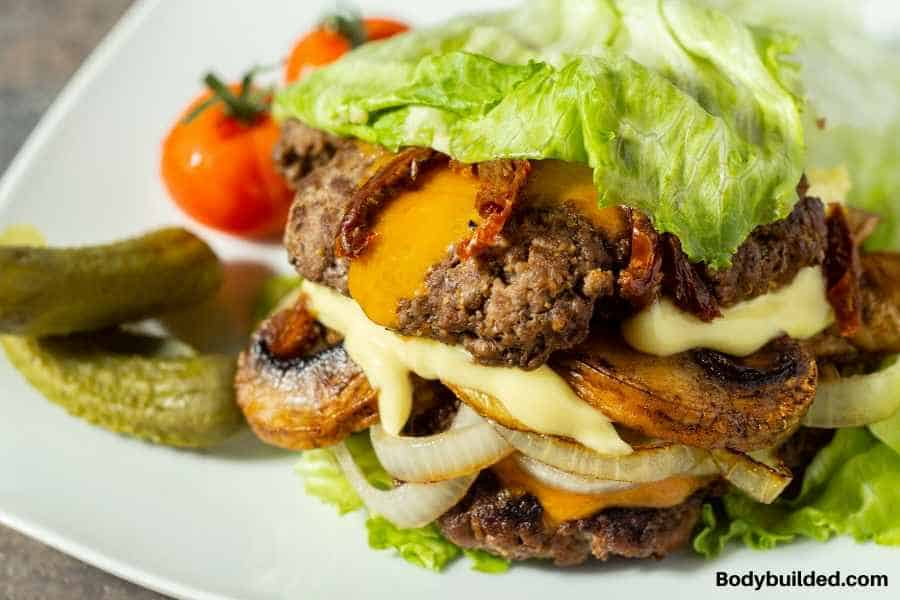 lettuce wrapped burger low carb snack idea