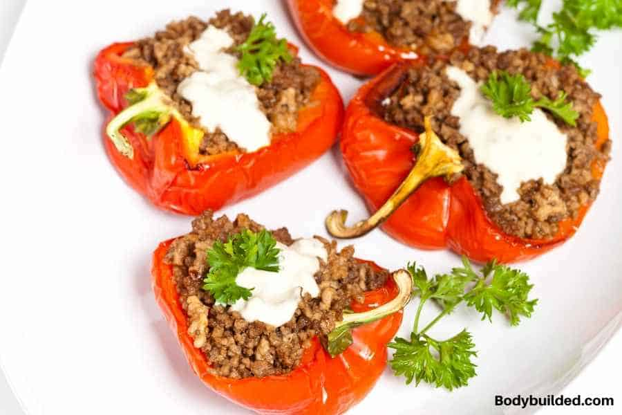 ground beef with slice bell peppers low carb salad