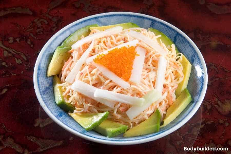 Crab and avocado salad low carb quick meal